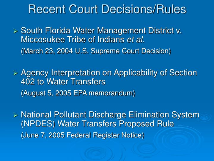 Recent Court Decisions/Rules