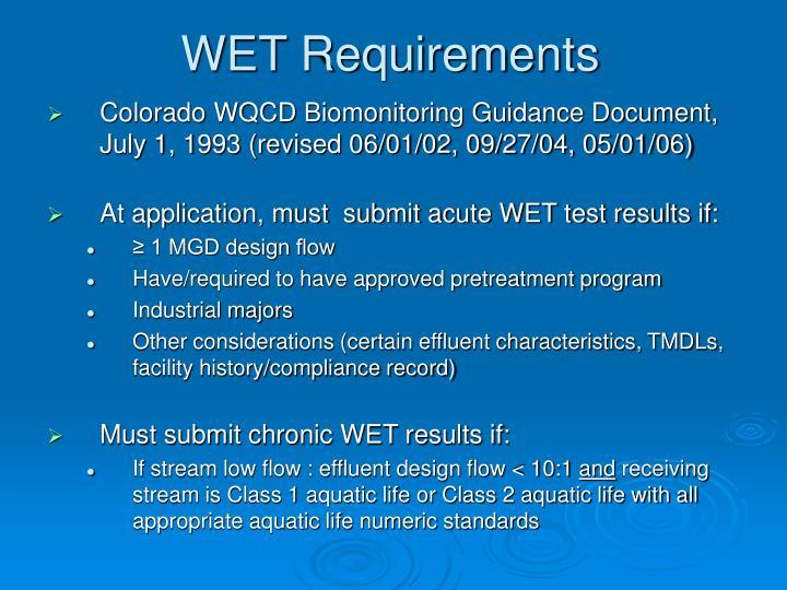 WET Requirements