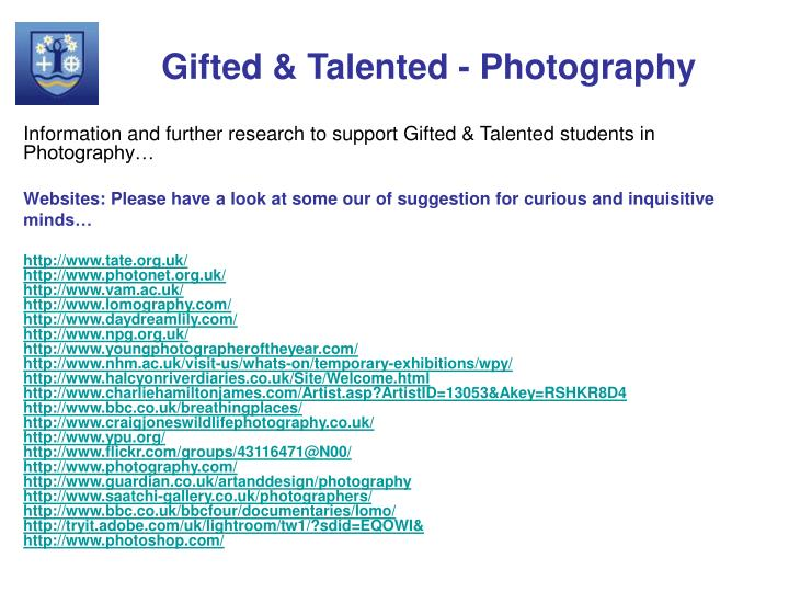 Gifted & Talented - Photography