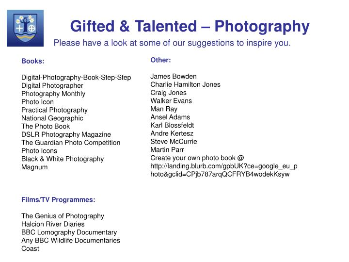Gifted & Talented – Photography