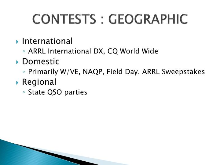 CONTESTS : GEOGRAPHIC