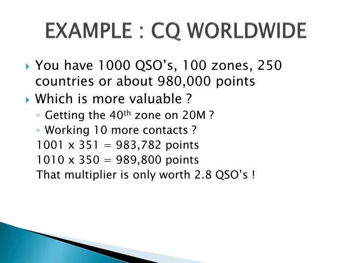 EXAMPLE : CQ WORLDWIDE