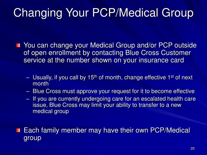 Changing Your PCP/Medical Group
