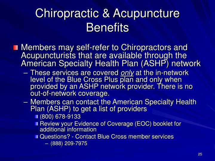 Chiropractic & Acupuncture Benefits