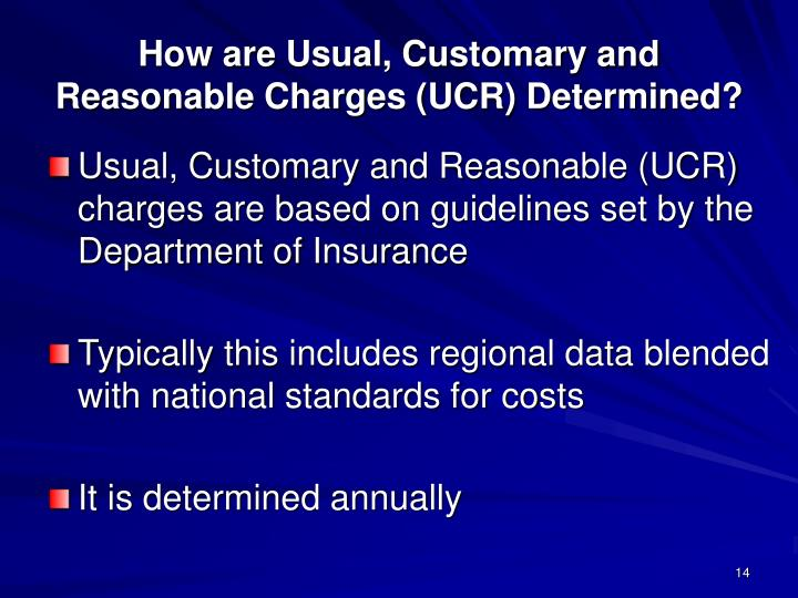 How are Usual, Customary and Reasonable Charges (UCR) Determined?
