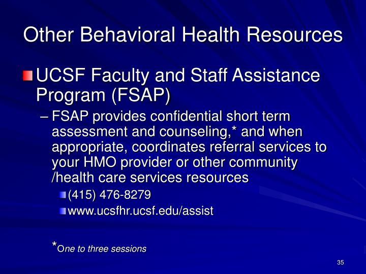 Other Behavioral Health Resources