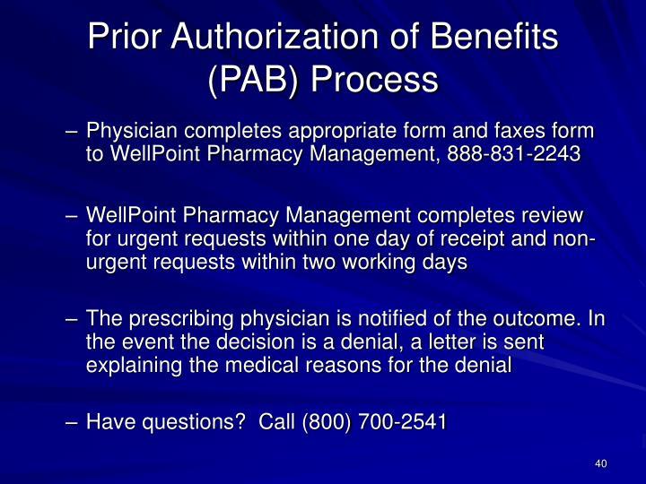 Prior Authorization of Benefits