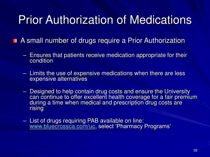 Prior Authorization of Medications