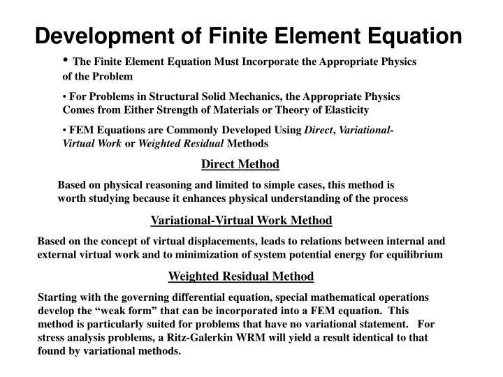 Development of Finite Element Equation
