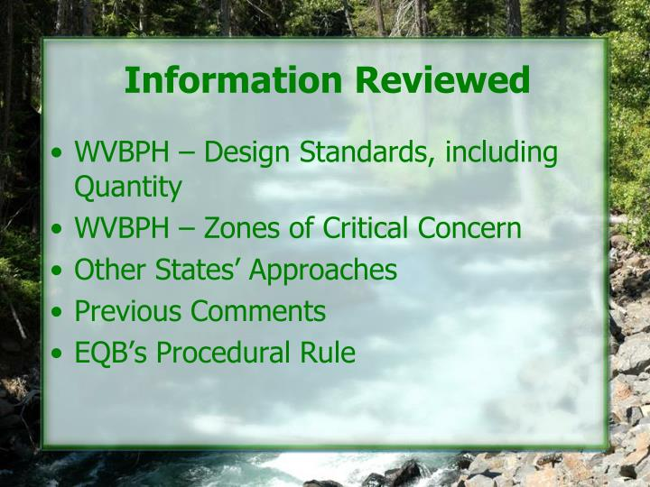 Information Reviewed