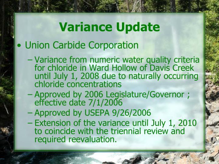 Variance Update