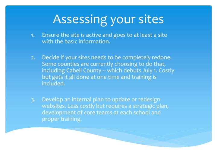 Assessing your sites