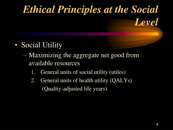 Ethical Principles at the Social Level