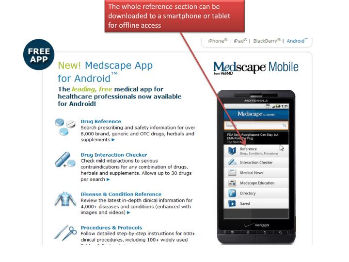 The whole reference section can be downloaded to a smartphone or tablet for offline access