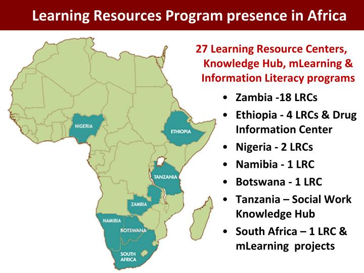 Learning Resources Program presence in Africa