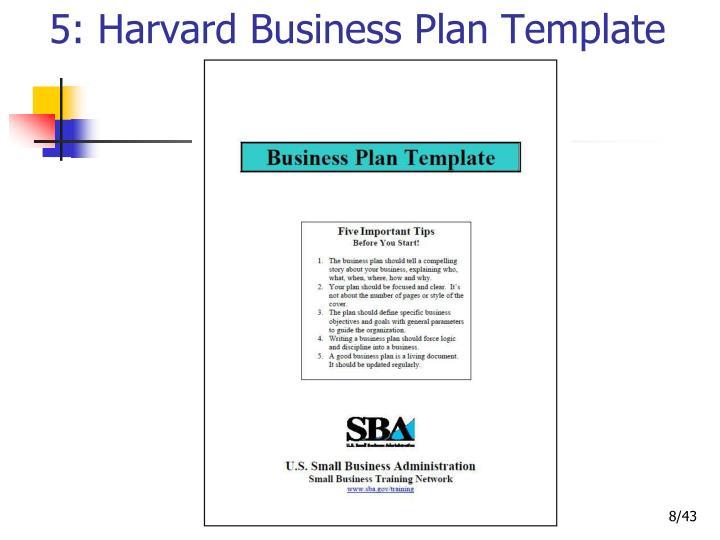 5: Harvard Business Plan Template