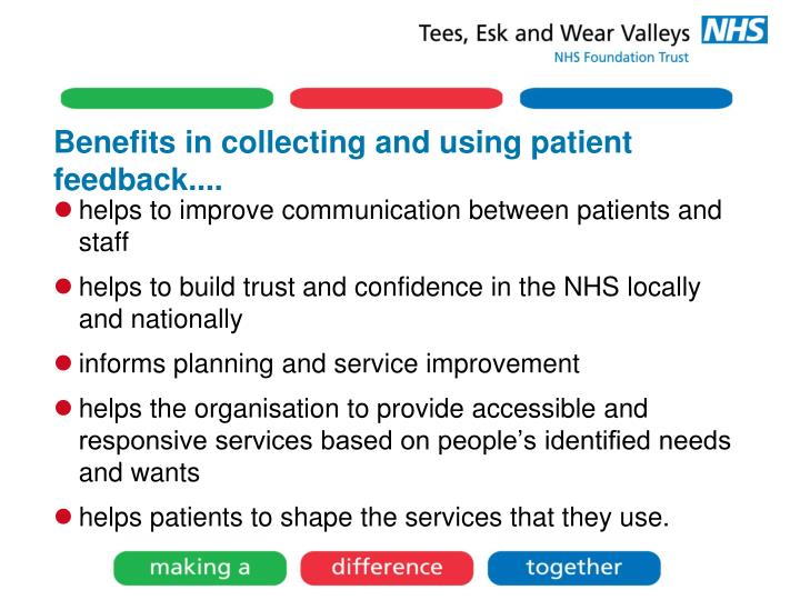 Benefits in collecting and using patient feedback....