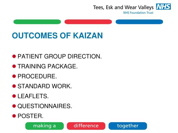 OUTCOMES OF KAIZAN