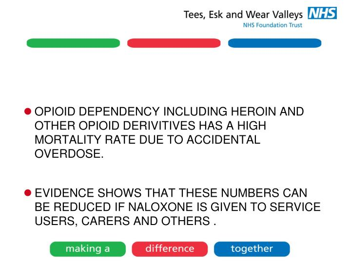 OPIOID DEPENDENCY INCLUDING HEROIN AND OTHER OPIOID DERIVITIVES HAS A HIGH MORTALITY RATE DUE TO ACCIDENTAL OVERDOSE.