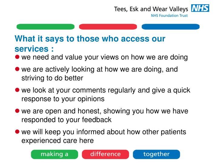 What it says to those who access our services :