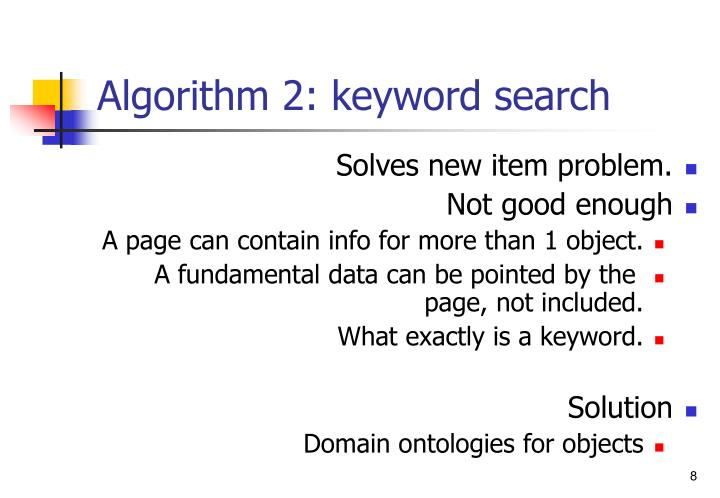Algorithm 2: keyword search