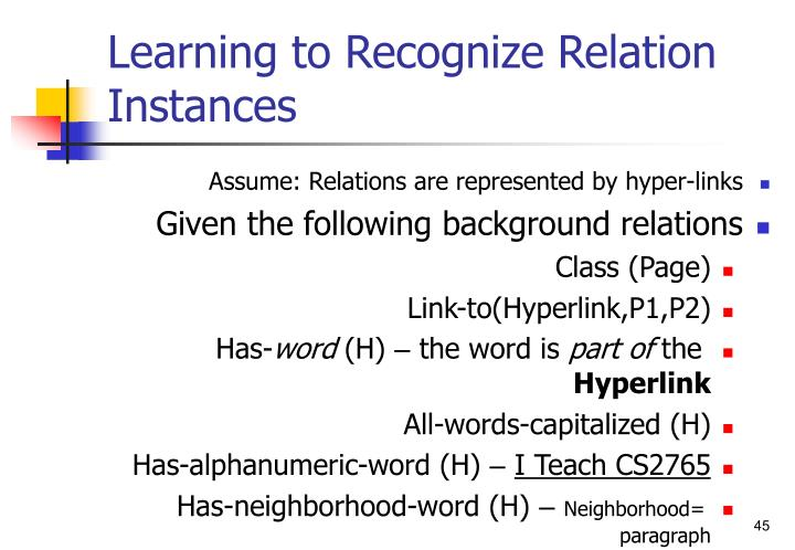 Learning to Recognize Relation Instances
