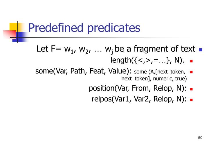 Predefined predicates