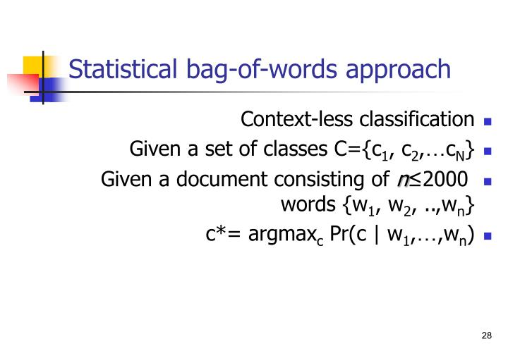 Statistical bag-of-words approach
