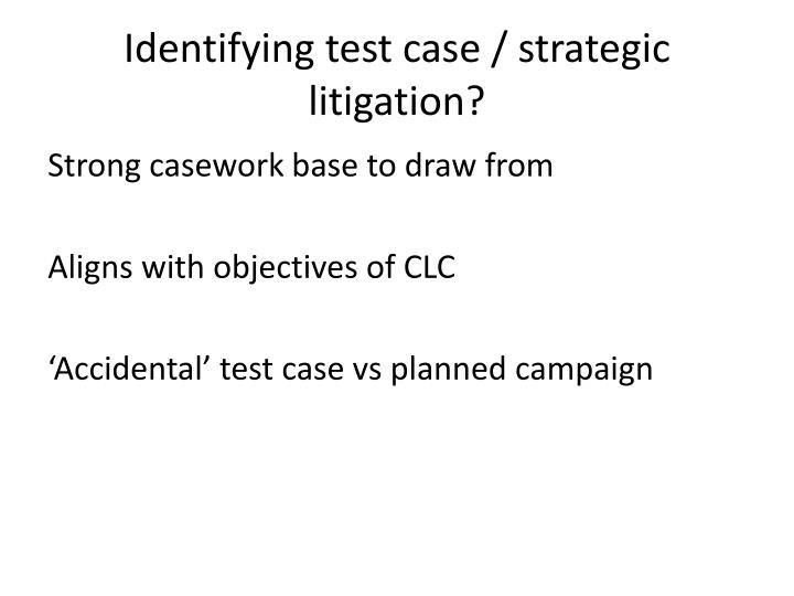 Identifying test case / strategic litigation?