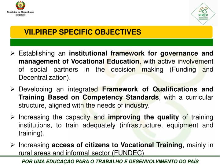 PIREP SPECIFIC OBJECTIVES