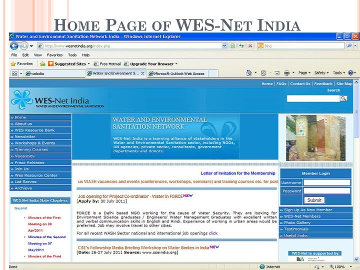 Home Page of WES-Net India