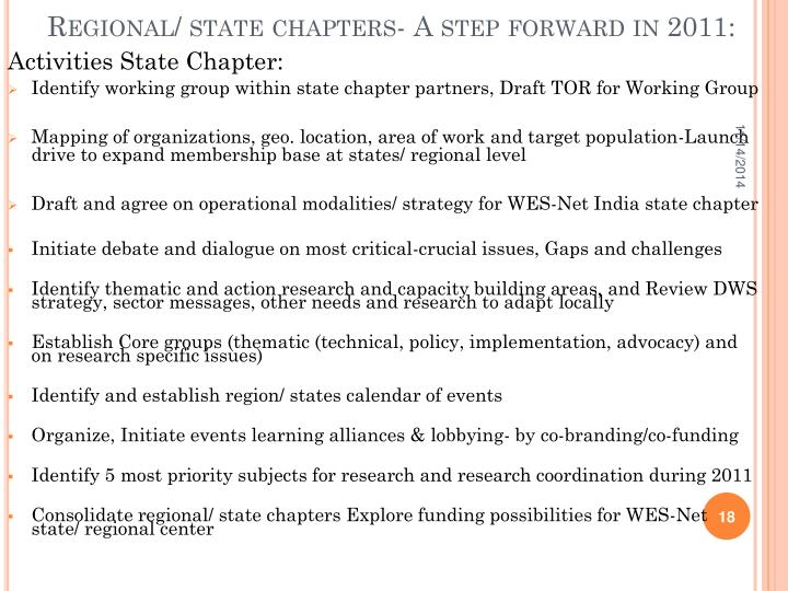 Regional/ state chapters- A step forward in 2011: