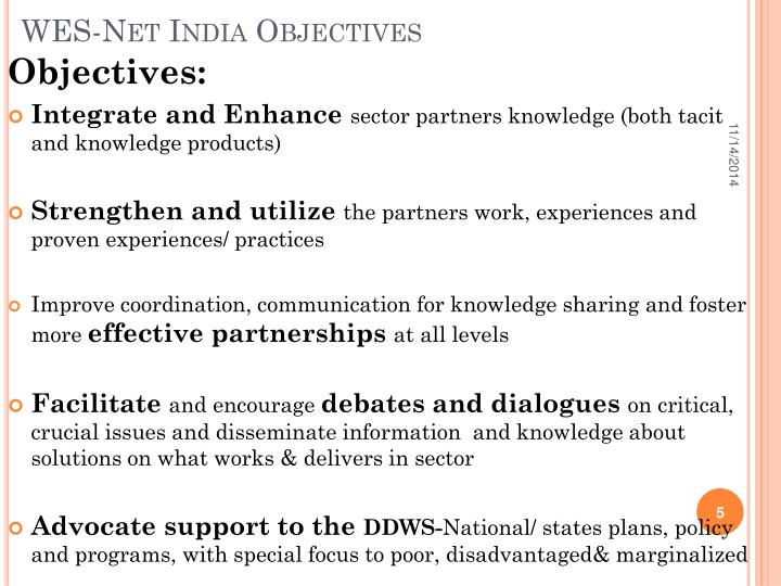 WES-Net India Objectives