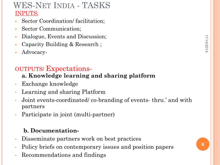 WES-Net India - TASKS