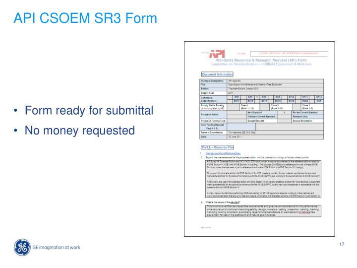 API CSOEM SR3 Form
