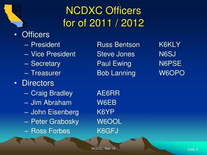 NCDXC Officers