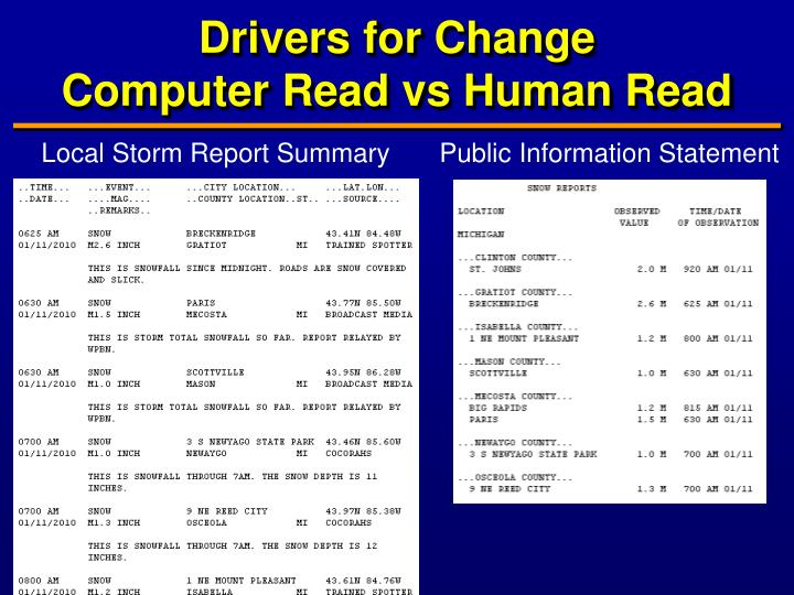 Drivers for change computer read vs human read