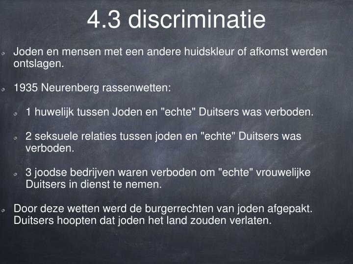 4.3 discriminatie