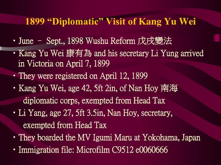 """1899 """"Diplomatic"""" Visit of K"""