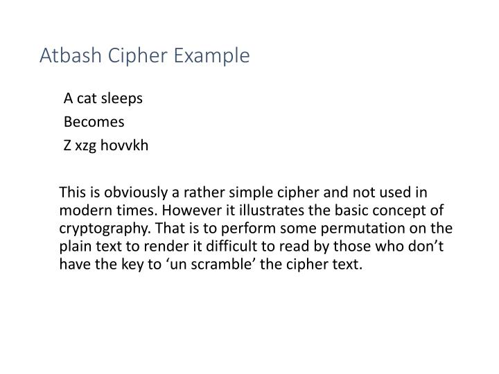 Atbash Cipher Example