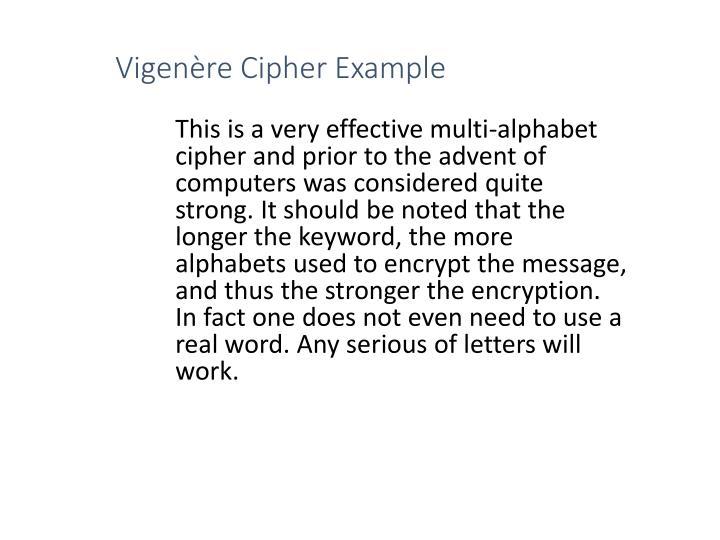 Vigenère Cipher Example