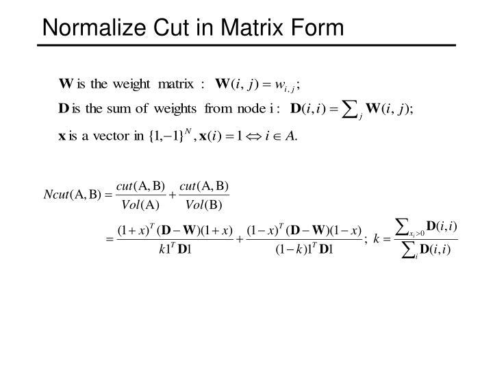 Normalize Cut in Matrix Form