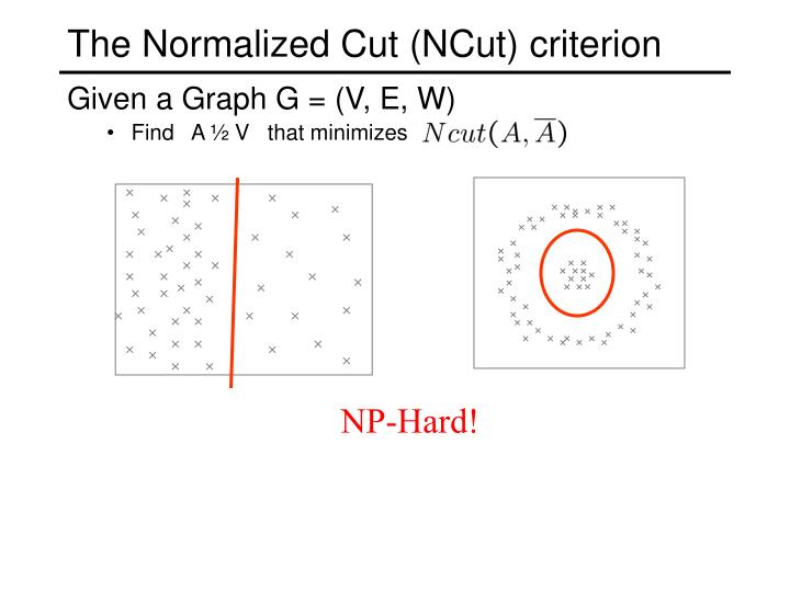 The Normalized Cut (NCut) criterion
