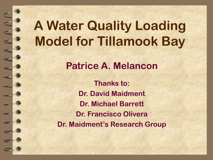 A water quality loading model for tillamook bay