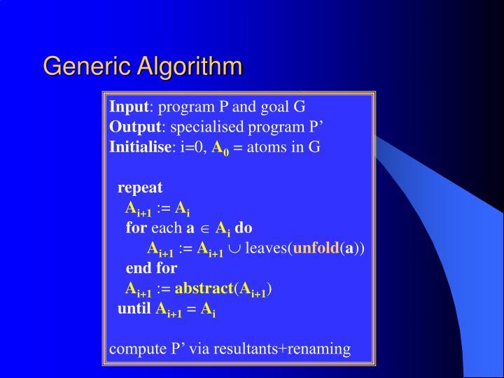 Generic Algorithm