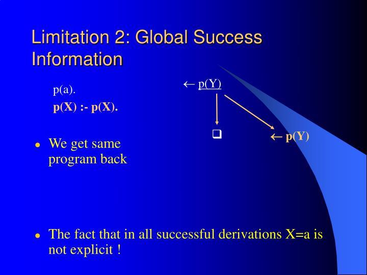 Limitation 2: Global Success Information