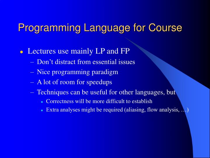 Programming Language for Course