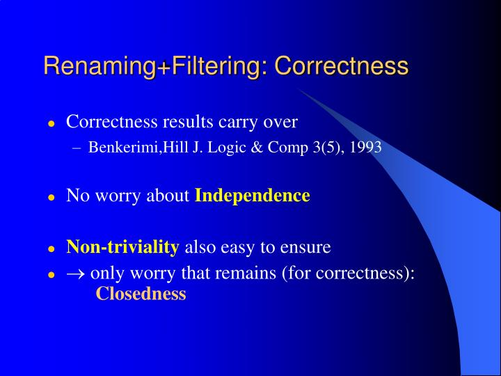 Renaming+Filtering: Correctness
