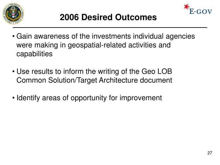 2006 Desired Outcomes