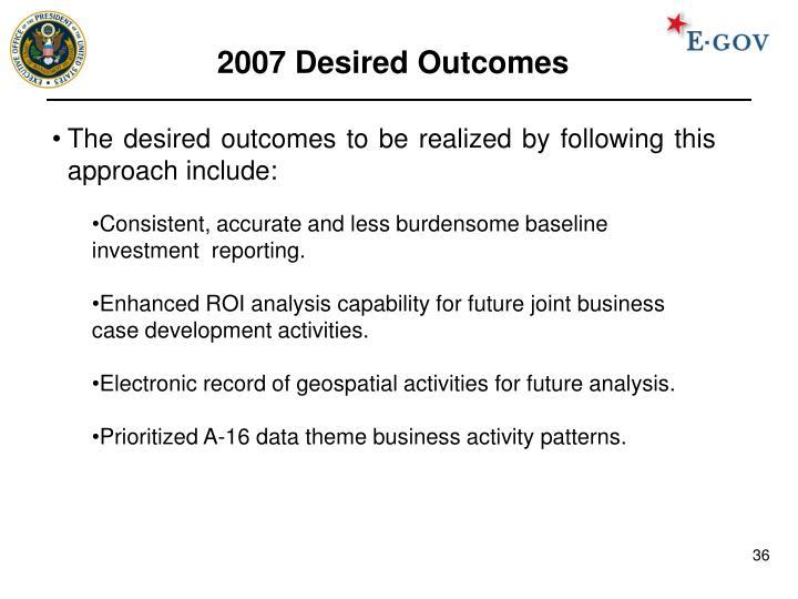 2007 Desired Outcomes